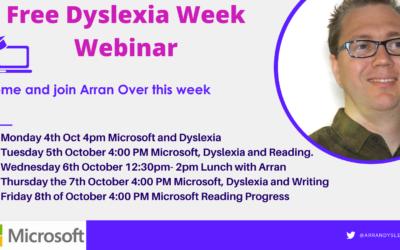 Free Webinar with Arran over Dyslexia Week